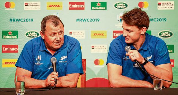 New Zealand's assistant coach Ian Foster, alongside Beauden Barrett, insists that the Kiwis are not the source of all good ideas. Photo: Hannah Peters/Getty Images