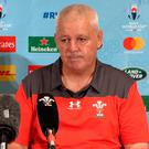Screen grab taken from PA Video of Wales head coach Warren Gatland during a press conference at the Rihga Royal Hotel, Kitakyushu. PA Photo. Photo credit should read: PA Wire