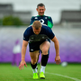 18 September 2019; Keith Earls with team physio Keith Fox during Ireland Rugby squad training at the Ichihara Suporeku Park in Ichihara, Japan. Photo by Brendan Moran/Sportsfile