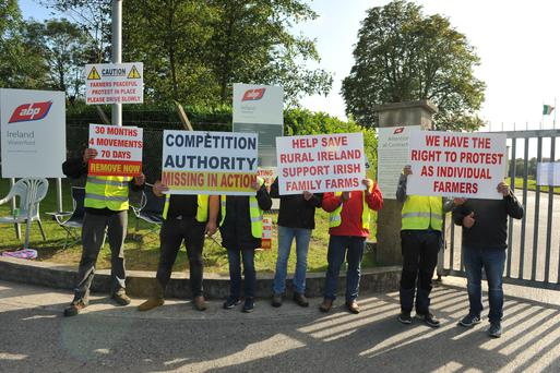 Farmers protest outside ABP Christendom, Ferrybank, Co Waterford in recent weeks. Photo Roger Jones.