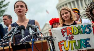 Green ambitions: Cimate activist Kallan Benson from 'Friday for Futures' gives a speech on Capitol Hill in Washington. Photo: AFP/Getty Images