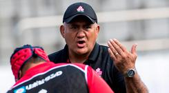 Japan head coach Jamie Joseph issues instructions to his charges. Photo: AFP/Getty Images