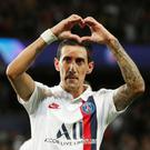 Paris St Germain's Angel Di Maria celebrates scoring their second goal. REUTERS/Benoit Tessier
