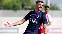 Troy Parrott gestures during the UEFA Youth League match between Olympiacos and Tottenham. The Dubliner was on target as Spurs' U-19s drew 1-1 in Piraeus, Greece. Photo: Getty