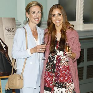 Yvonne Melinn and Tara O'Farrell at the M&S Autumn Winter '19 showcase at The Royal College of Physicians. Picture: Kieran Harnett