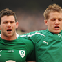 13 February 2011; Ireland's Fergus McFadden, left, and Luke Fitzgerald sing the National Anthem before the game. RBS Six Nations Rugby Championship, Ireland v France, Aviva Stadium, Lansdowne Road, Dublin. Picture credit: Brendan Moran / SPORTSFILE