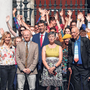 Challenge: Members of Friends of the Irish Environment, including Clodagh Daly, David Healy, Andrew Jackson, Sadhbh O'Neill and Tony Lowes, and supporters at the Four Courts. Photo: PA
