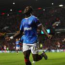 Rangers' Sheyi Ojo celebrates scoring in the Europa League Group G win over Feyenoord at Ibrox, Glasgow. Photo: Reuters/Lee Smith