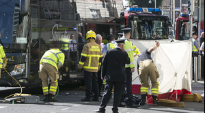 Gardai and emergency services at the scene of the collision involving a Streamline coach on Eden Quay