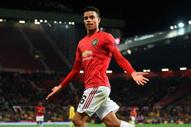 Remember the name: Manchester United striker Mason Greenwood celebrates scoring the winner against FC Astana at Old Trafford. Photo: Oli SCARFF/AFP/Getty Images