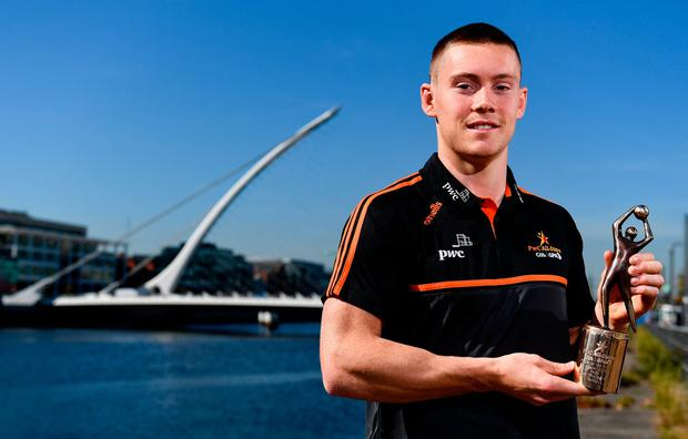 Dublin footballer Con O'Callaghan with his PwC GAA/GPA Player of the Month award for August. Photo: Sam Barnes/Sportsfile