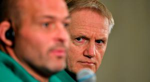 Ireland head coach Joe Schmidt, right, in the company of captain Rory Best, during the Ireland Rugby squad announcement, ahead of their opening Pool A game against Scotland, at the Yokohama Bay Sheraton Hotel and Towers in Yokohama, Japan. Photo by Brendan Moran/Sportsfile