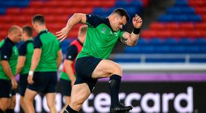 Cian Healy during the Ireland captain's run ahead of their opening Pool A game against Scotland at the International Stadium in Yokohama, Japan. Photo by Ramsey Cardy/Sportsfile