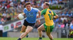 6 August 2016; Paul Flynn of Dublin in action against Anthony Thompson of Donegal during the GAA Football All-Ireland Senior Championship Quarter-Final match between Dublin and Donegal at Croke Park in Dublin. Photo by Ray McManus/Sportsfile