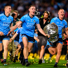 14 September 2019; Brian Fenton, left, and Ciarán Kilkenny of Dublin celebrate with the cup following the GAA Football All-Ireland Senior Championship Final Replay match between Dublin and Kerry at Croke Park in Dublin. Photo by Eóin Noonan/Sportsfile