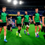 Ireland players, from left, Garry Ringrose, Keith Earls, Tadhg Beirne, Jonathan Sexton and Cian Healy, arrive for the Ireland captain's run ahead of their opening Pool A game against Scotland at the International Stadium in Yokohama, Japan. Photo: Ramsey Cardy/Sportsfile