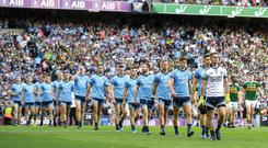 14 September 2019; The teams parade prior to the GAA Football All-Ireland Senior Championship Final Replay match between Dublin and Kerry at Croke Park in Dublin. Photo by David Fitzgerald/Sportsfile