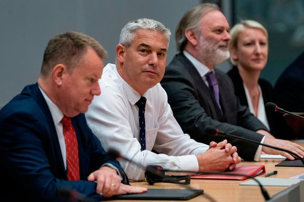Talk time: UK Brexit Secretary Stephen Barclay (centre) met with EU negotiator Michel Barnier in Brussels. Photo: Getty