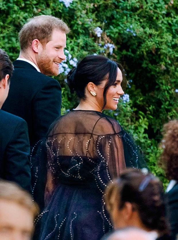 Britain's Prince Harry and his wife Meghan, Duchess of Sussex arrive to the wedding of Misha Nonoo and Michael Hess in Rome, Friday, Sept. 20, 2019