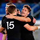 New Zealand's players celebrate a try during the Japan 2019 Rugby World Cup Pool B match between New Zealand and South Africa at the International Stadium Yokohama in Yokohama on September 21, 2019. (Photo by Odd ANDERSEN / AFP)ODD ANDERSEN/AFP/Getty Images