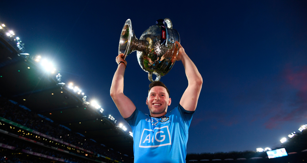 Philly McMahon celebrates with the Sam Maguire following the All-Ireland replay. Photo: Sportsfile