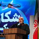 IRGC Major General Hossein Salami at Tehran's Islamic Revolution and Holy Defence museum during the unveiling of an exhibition of what Iran says are drones captured in its territory. Photo: ATTA KENARE/AFP/Getty Images