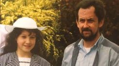 Larissa Nolan in 1988 with her father Christopher, who died in 2001