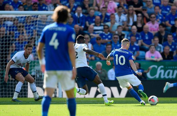 Leicester City's James Maddison scores his side's second goal of the game. Photo: Joe Giddens/PA Wire