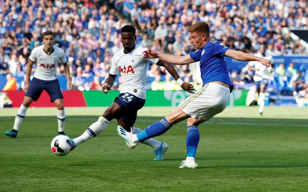 Leicester City's Harvey Barnes in action with Tottenham Hotspur's Serge Aurier. Photo: Andrew Boyers/Action Images via Reuters