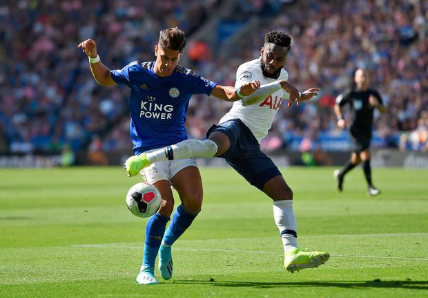 Leicester City's Ayoze Perez (left) and Tottenham Hotspur's Danny Rose battle for the ball. Photo: Joe Giddens/PA Wire