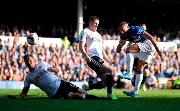 Everton's Cenk Tosun has a shot on goal. Photo: Nick Potts/PA Wire