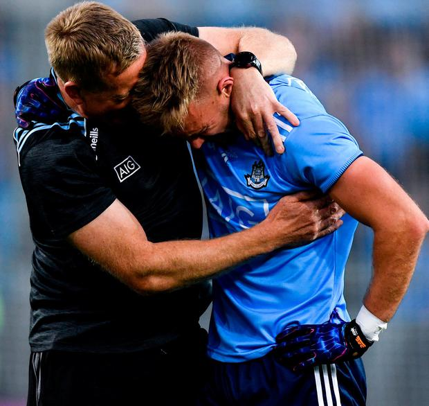 An emotional Cooper embraces Declan Darcy after Dublin's victory against Kerry which secured the All-Ireland SFC five-in-a-row. Photo: Sam Barnes/Sportsfile