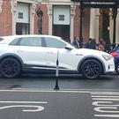 FUTURE MEETS CLASSY HERITAGE: The Audi e-tron, outside Dublin's Shelbourne Hotel