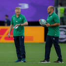 Ireland head coach Joe Schmidt and captain Rory Best prior to the 2019 Rugby World Cup Pool A match between Ireland and Scotland at the International Stadium in Yokohama, Japan. Photo by Brendan Moran/Sportsfile