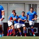 Rugby Union - Rugby World Cup 2019 - Pool B - Italy v Namibia - Hanazono Rugby Stadium, Osaka, Japan - September 22, 2019 Namibia's Damian Stevens celebrates with team mates scoring their first try REUTERS/Issei Kato