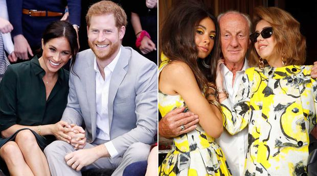Meghan and Harry, and Paul Costelloe with models at his SS20 fashion show, right