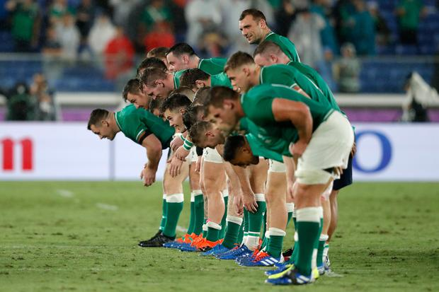 Ireland players bow to applaud fans after the Rugby World Cup 2019 Group A game between Ireland and Scotland at International Stadium Yokohama on September 22, 2019 in Yokohama, Kanagawa, Japan. (Photo by Stu Forster/Getty Images)