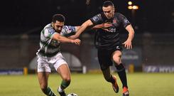 Shamrock Rovers' Roberto Lopes and Dundalk's Michael Duffy battle for the ball during their Premier Division tie at Tallaght Stadium last March. Photo: Seb Daly/Sportsfile