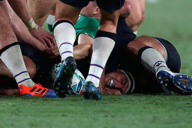 Scotland's hooker Stuart McInally reaches for the ball. Photo: Getty Images