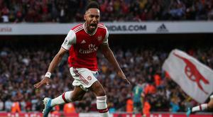 Arsenal's Pierre-Emerick Aubameyang celebrates scoring their winning goal. Photo: REUTERS/Hannah McKay