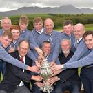 Gerry Burke (Team Captain) with the victorious Galway Senior Cup team after their victory at the 2019 AIG Cups and Shields Finals alongside Shane O'Mahony (President) and Ciaran Daly (Captain). Team members (from left): Liam Nolan, Declan Kennedy, Ronan Mullarney, Luke O'Neill, Mikey Burke, Eddie McCormack, Liam Power, Joe Lyons and Cillian O Murchu. Photo: Pat Cashman