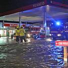 Flooding at Kiernan's Texaco station on the Dublin Road in Cavan Photo: Lorraine Teevan
