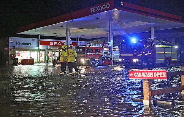 Flooding at Kiernan's Texaco station on the Dublin Road in Cavan following torrential rain in the Cavan area on Sunday evening which has seen businesses and homes flooded throughout the county town. Photo: Lorraine Teevan