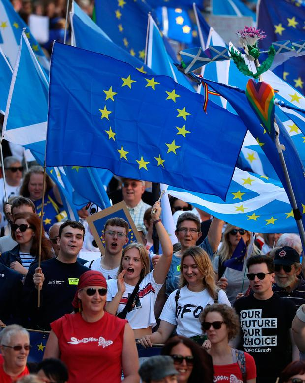 Campaign: Protesters at the March to Remain in the EU for Peace and Climate Action in Edinburgh. PHOTO: ANDREW MILLIGAN/PA WIRE