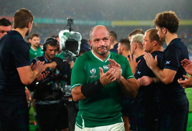 Ireland captain Rory Best of Ireland applauds fans as he leaves the pitch after the Rugby World Cup 2019 Group A win over Scotland in Yokohama. Photo: Cameron Spencer/Getty Images