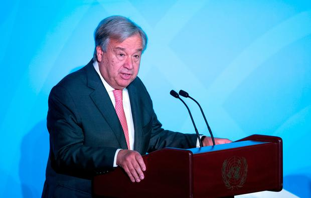 Secretary General of the UN, Antonio Guterres speaks during the UN Climate Action Summit. Photo by Johannes EISELE / AFP