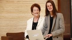 Former Government Minister Mary O'Rourke & granddaughter Jennifer (16) team up to launch Fraud Awareness Week. Picture: Conor McCabe Photograph