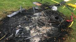 Gardai are investigating criminal damage at a Dublin soccer club, which saw thousands of euro worth of equipment torched. Pic: Facebook