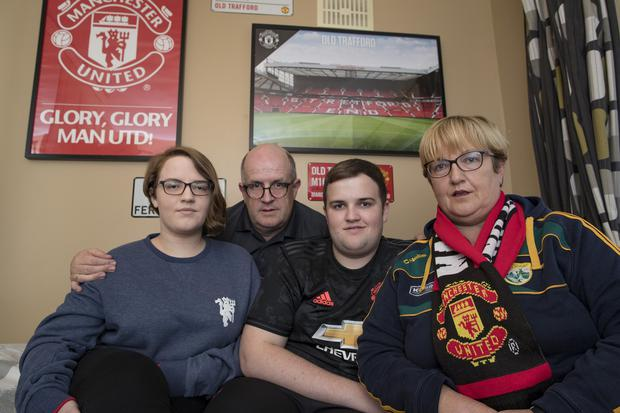 23/9/19 Claire and Tim Ralph with son Sean age 19 and daughter Katie, 21, who had booked a trip to see a Manchester United game on St Stephen's day with Thomas Cook. Picture: Arthur Carron