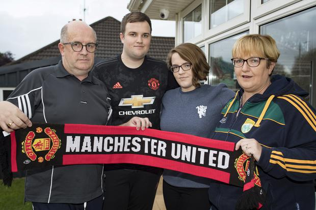 23/9/19 Claire and Tim Ralph with son Sean (19) and daughter Katie (21), who had booked a trip to see a Manchester United game on St Stephen's day with Thomas Cook. Photo: Arthur Carron